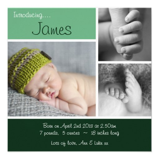 Baby Announcement Minimalist Photo Collage -Green