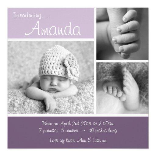 Baby Announcement Minimalist Photo Collage -Purple