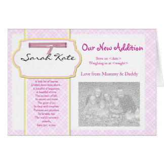 baby announcement photocard greeting card