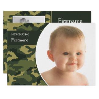 Baby Announcement with 3 photos (camo design)