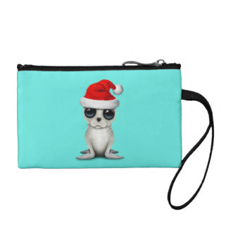 Baby Arctic Seal Wearing a Santa Hat Coin Purse