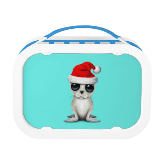 Baby Arctic Seal Wearing a Santa Hat Lunch Box