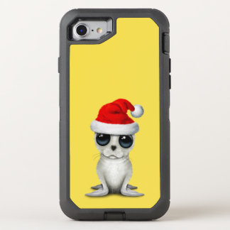 Baby Arctic Seal Wearing a Santa Hat OtterBox Defender iPhone 8/7 Case