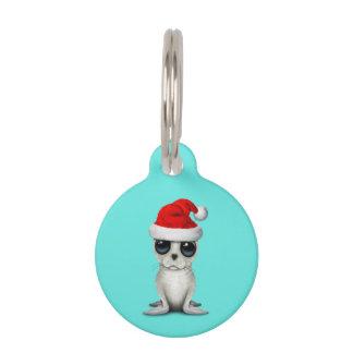 Baby Arctic Seal Wearing a Santa Hat Pet Tag