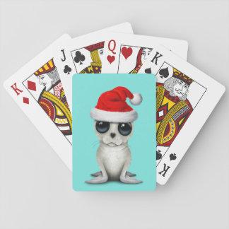 Baby Arctic Seal Wearing a Santa Hat Playing Cards