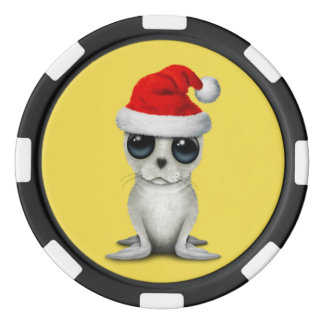 Baby Arctic Seal Wearing a Santa Hat Poker Chips