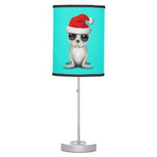 Baby Arctic Seal Wearing a Santa Hat Table Lamp
