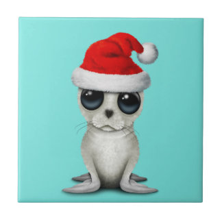 Baby Arctic Seal Wearing a Santa Hat Tile