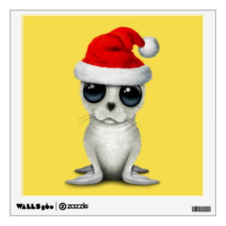 Baby Arctic Seal Wearing a Santa Hat Wall Sticker