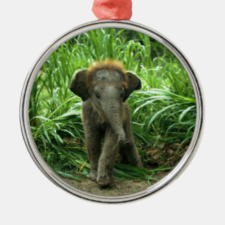 Baby Asian Elephant Silver-Colored Round Ornament