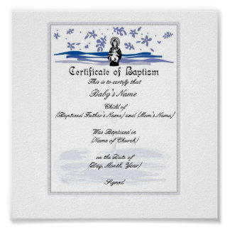 Baby Baptism Certificate -Boy Poster