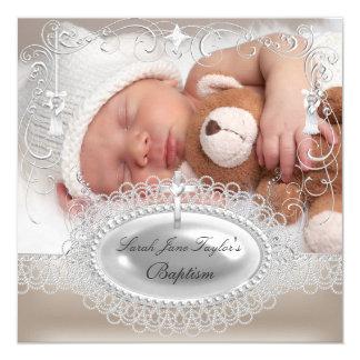 "Baby Baptism Girl Boy Christening Pearl 5.25"" Square Invitation Card"