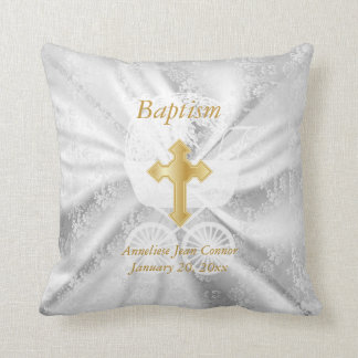 Baby Baptism on White Satin Throw Pillow