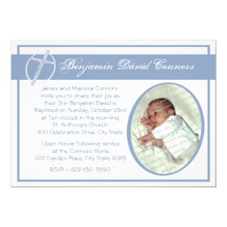 "Baby Baptism Photo Blue 5"" X 7"" Invitation Card"