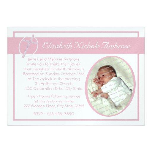 Baby Baptism Photo/ Pink Custom Invite