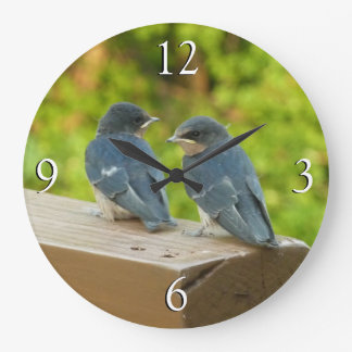 Baby Barn Swallows Nature Bird Photography Large Clock