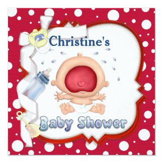 "Baby Bawling Funny Neutral Baby Shower 5.25"" Square Invitation Card"