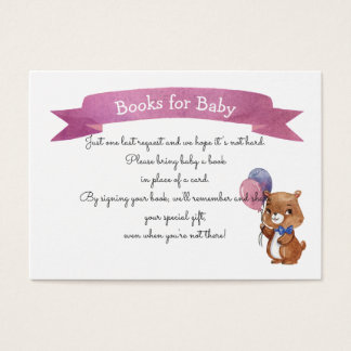 Baby Bear Baby SHOWER BOOK REQUEST Business Card