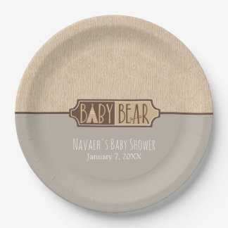 """Baby Bear"" - Baby Shower Personalized 9 Inch Paper Plate"