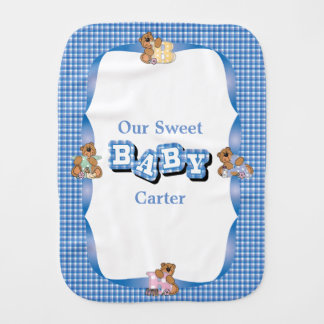 Baby Bear Blue Plaid Pattern Burp Cloth
