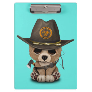 Baby Bear Cub Zombie Hunter Clipboard