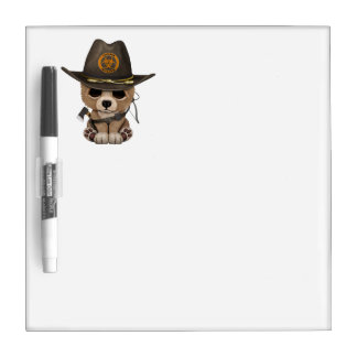 Baby Bear Cub Zombie Hunter Dry Erase Board