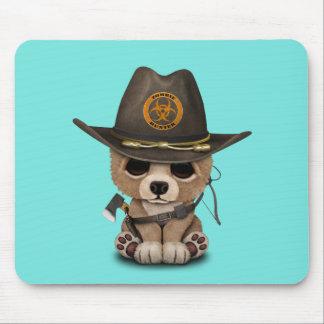 Baby Bear Cub Zombie Hunter Mouse Pad