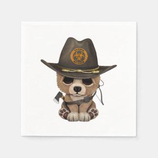 Baby Bear Cub Zombie Hunter Paper Napkins