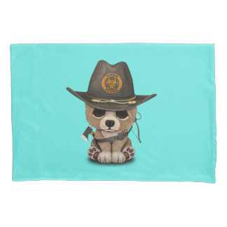 Baby Bear Cub Zombie Hunter Pillowcase