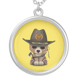Baby Bear Cub Zombie Hunter Silver Plated Necklace