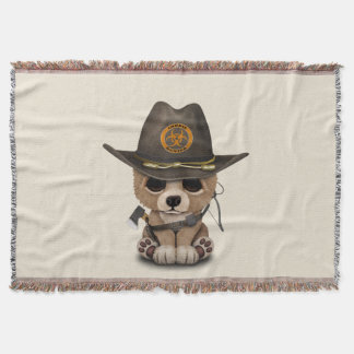 Baby Bear Cub Zombie Hunter Throw Blanket