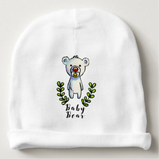Baby Bear Ink and Watercolor Illustration Baby Beanie