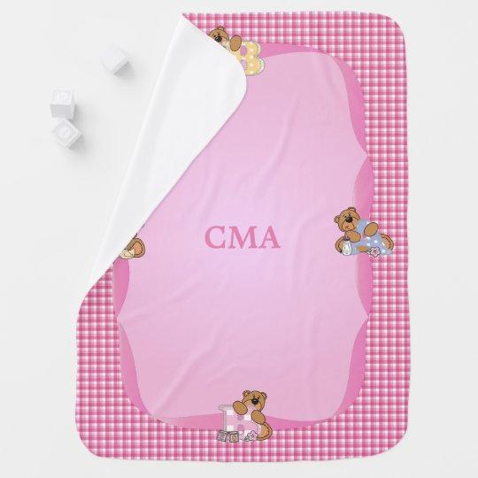 Baby Bear Pink Plaid Pattern Baby Blanket