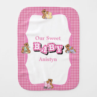 Baby Bear Pink Plaid Pattern Burp Cloth
