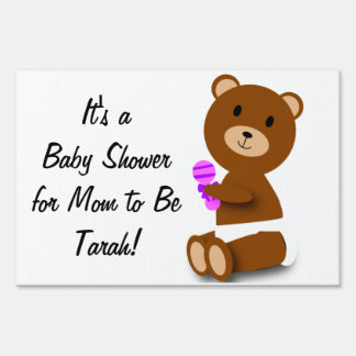 Baby Bear Pink Purple Baby Shower Customizable Sign