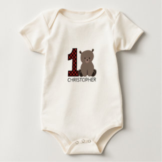 Baby Bear Plaid First Birthday Shirt