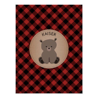 Baby Bear Plaid Personalized Nursery Artwork Poster