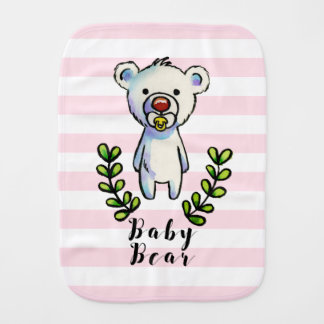 Baby Bear Watercolor Illustration Pink Stripes Burp Cloth