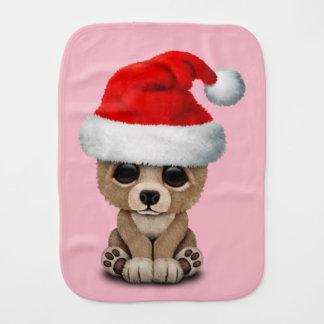 Baby Bear Wearing a Santa Hat Burp Cloth