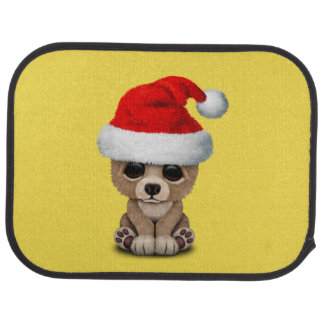Baby Bear Wearing a Santa Hat Car Mat