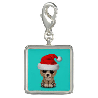 Baby Bear Wearing a Santa Hat Charm
