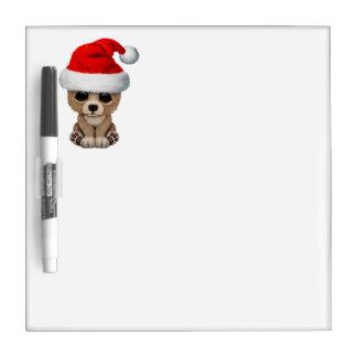 Baby Bear Wearing a Santa Hat Dry Erase Board