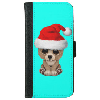 Baby Bear Wearing a Santa Hat iPhone 6 Wallet Case