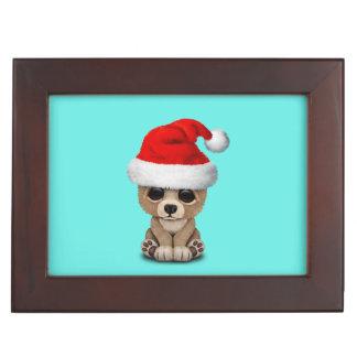 Baby Bear Wearing a Santa Hat Keepsake Box