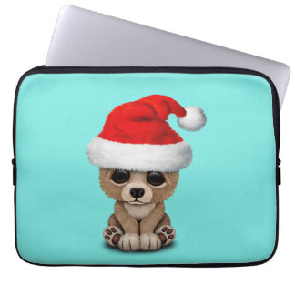 Baby Bear Wearing a Santa Hat Laptop Sleeve