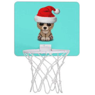 Baby Bear Wearing a Santa Hat Mini Basketball Hoop