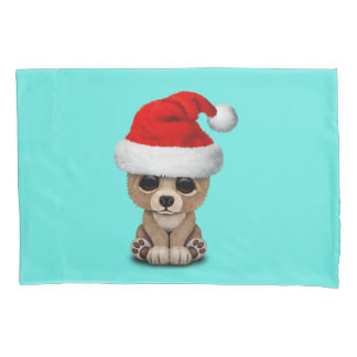Baby Bear Wearing a Santa Hat Pillowcase