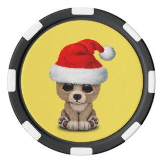 Baby Bear Wearing a Santa Hat Poker Chips