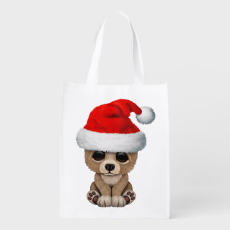 Baby Bear Wearing a Santa Hat Reusable Grocery Bag