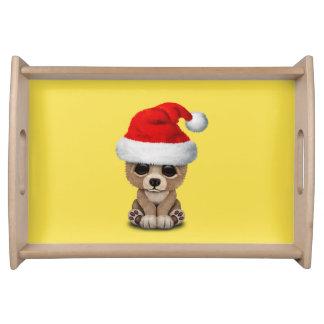 Baby Bear Wearing a Santa Hat Serving Tray